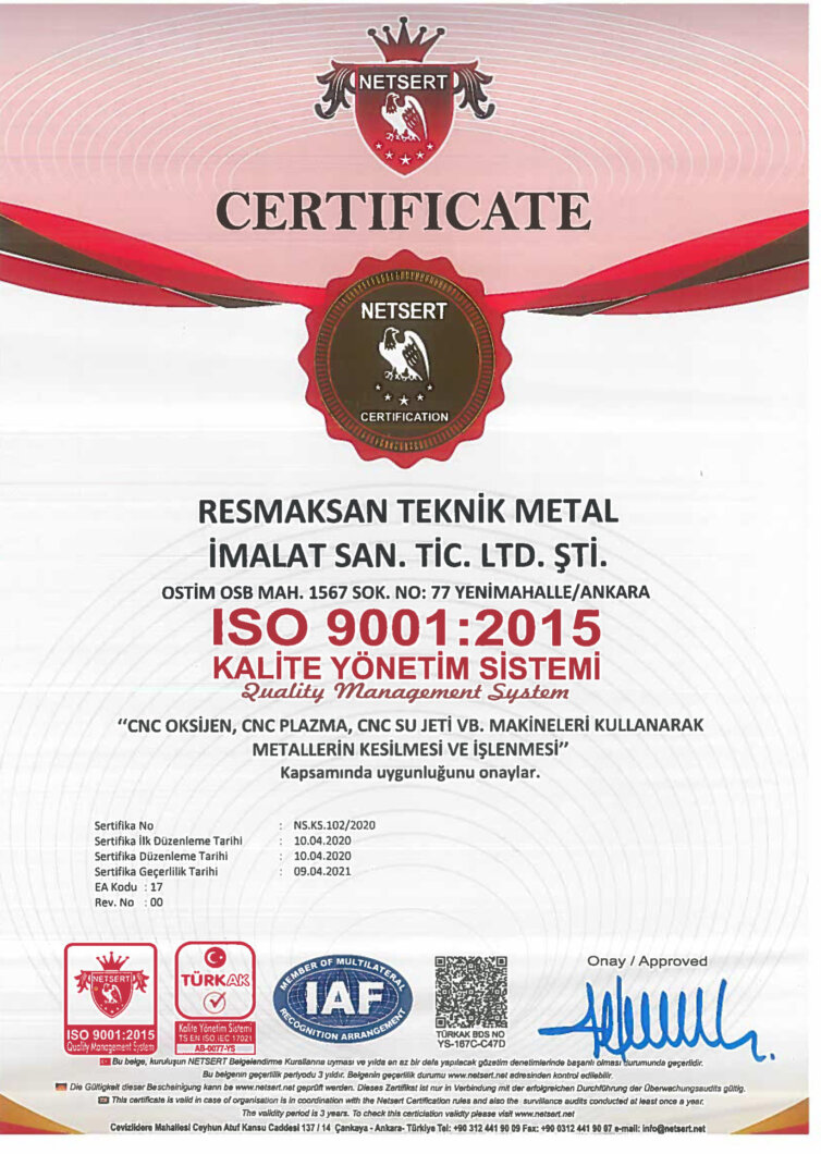 Kalite Belgesi – ISO – 9001